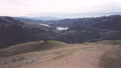 The Calaveras Reservoir in the distance, nice 'n' blue.