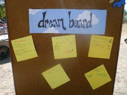 "The dream board included people's thoughts such as, ""I dream of when the power of love outweighs the love of power."""