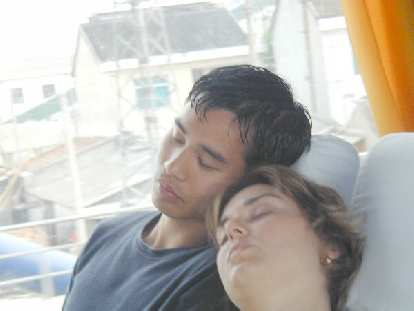 Caught, napping: Felix Wong and Karen together on the bus to/from Suzhou.