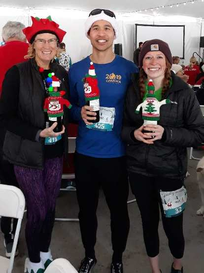 Cathy, Felix and Brooke with their age group awards at the 2019 Sweaty Sweater 4 Mile race.
