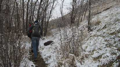 When we hiked in it was still foggy with snow on the ground, but fortunately it eventually became sunny.