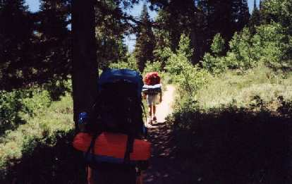 Following Esther's friends Greg and Arnold (I think) up the Tahoe Rim Trail, with 40+ pounds of camping gear on their backs!
