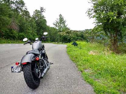 The Charcoal Denim Harley-Davidson Sportster Iron 883 rental on Rt. 129 near Chilhowee, Tennessee.