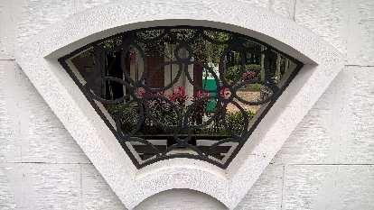 Wall window detail outside the National Chiang Kai-shek Memorial Hall in Taipei, Taiwan.