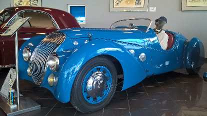 A blue 1937 Peugeot Darl'Mat, which was styled by George Paulin, a former dentist.