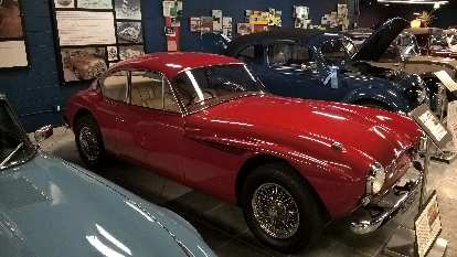 This red 1953 Jensen 541 prototype hailed from England was made of aluminum except for the fiberglass hood. Production models were all fiberglass. The drag coefficient (Cd) was only .39.