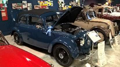 """A blue 1937 Mercedes 170 H was a limited-production, rear-engined """"people's car"""" that looked like a Volkswagen. Ditto for the 1935 Mercedes 130 H next to it."""