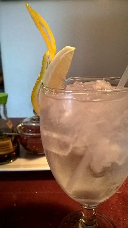 Lemon water at Thai Boat Restaurant in Brandon, Florida.