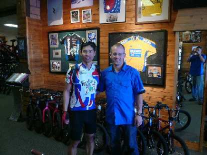 Day 8: In Butte, MT, I wandered into The Outdoorsman bicycle shop to pick up some tubes.  I was promptly greeted by Rob, Levi Leipheimer's older brother.