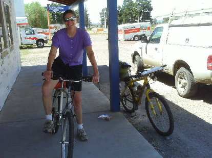 """Day 22: This local cyclist, Janet, in Chama, NM introduced me to """"the biggest cycling enthusiast in town"""" for a cyclometer."""