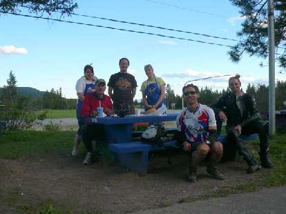 Day 2: At a roadside dairy, Kevin Hall and I stopped for food.  Left to right: Denise (staff), Kevin, Jordan (staff), Britney (staff), Felix Wong and Scott (a motorcycle rider going from Calgary, AB to Whitefish, MT).