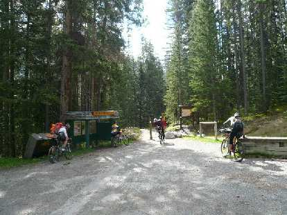 The start of the Tour Divide mountain bike race at the trailhead in Banff, AB.  This would be the last time I would see many of the racers.
