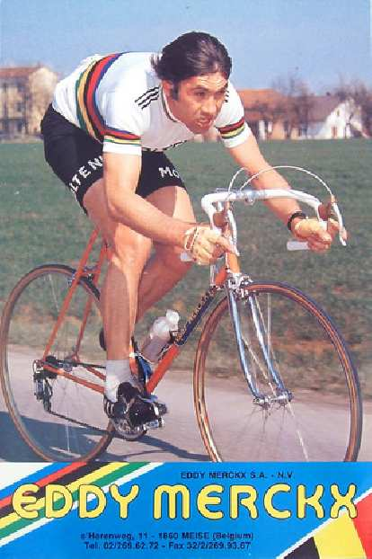 Eddy Merckx wearing the world champion colors, probably after winning the World Championship in 1974.