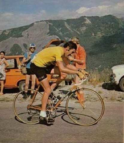 Eddy Merckx on his eponymous lugged steel bike in the 1974 Tour de France.