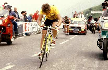 Greg LeMond (USA) 500m from finish at the Superbagneres Stage in the 1989 Tour de France.