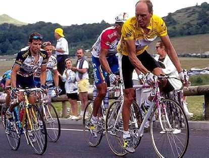 Bjarne Riis on his Pinarello in the 1996 Tour de France, which he won.