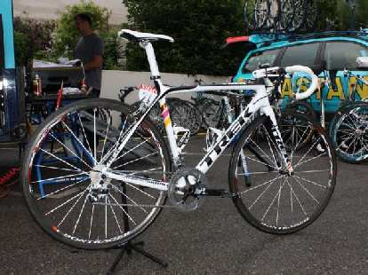 Alberto Contador's Trek Madone 6-series in the 2009 Tour de France.  It was the last year he rode a Trek.