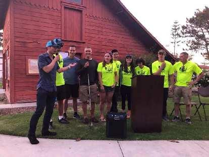Felix Wong, crew chief, introducing the cyclists of Team Sea to See: Mark Woodward (backup stoker), Charles Scott, Dan Berlin, Pamela Ferguson, Jack Chen, Caroline Gaynor, Tina Ament, Kyle Coon, and Chris Howard.