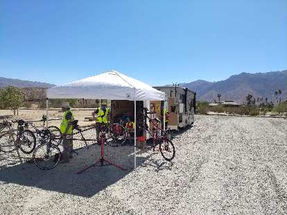 Setting up a Vehicle Meet Point (VMP) in the desert of California.