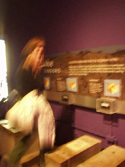 Witness Kat even joining in the fun, here at a seismometer exhibit.
