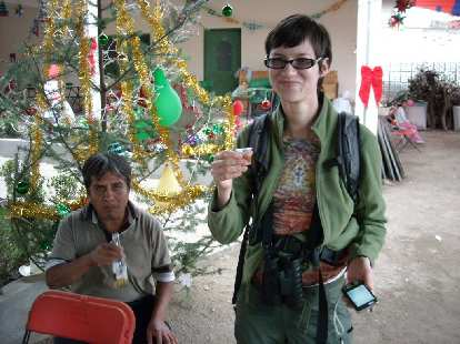 We crashed a fiesta for las posadas. Some men gave us shots of mezcal, and then the women gave us some too.