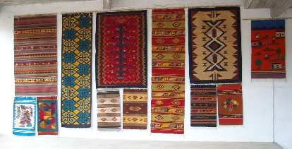 Teotitlan is famous for tapetes (rugs) that are woven on hand-operated looms from locally-produced wool and dyes.