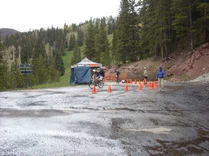 The top of the Vail Pass Climb.  Getting off-course and losing 3 minutes cost him 2nd place, but still finished 6th.