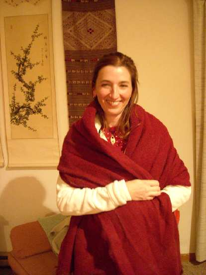 Tori and Dana's Tibeten blanket to keep her warm after our post-dinner walk.