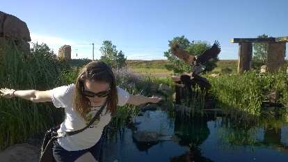 Maureen being like an eagle at The Rock Garden.