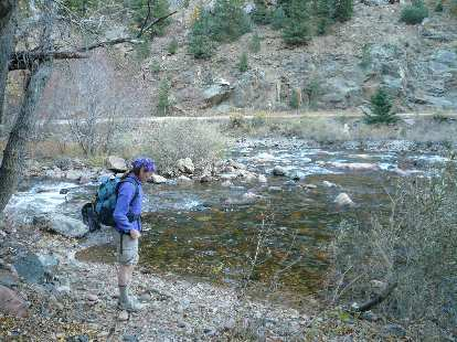 Tori getting ready to cross back over the Poudre River to where we were parked.
