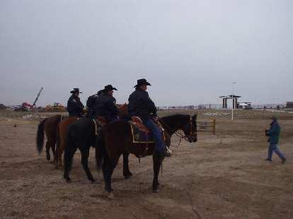 Local authorities were present on horses.