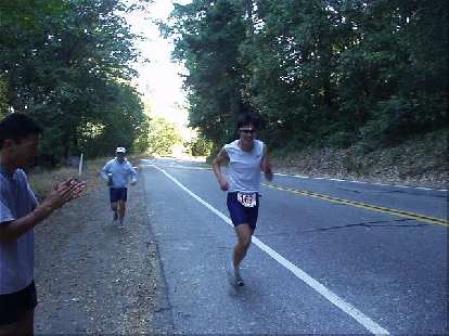 [Mile 164, 22:44 elapsed, 11:14 a.m.] Here's Everitt midway up the grueling, all-uphill leg  on Highway 9 from Redwood Gulch to Saratoga Gap.