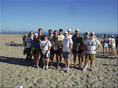 [Mile 199, 27:58 elapsed, 4:28 p.m.] Mission accomplished!  Our entire group after a journey of fun: Heidi, Lisa, Felix, Sharon, Mike, Manuel, Everitt, Tom, Steve, Herb, Al, and Phil.