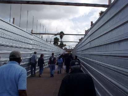 Crossing the border into Mexico.