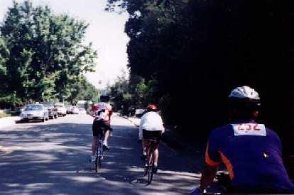three Stanford cyclists, Saratoga, 1998 Tour du Jour