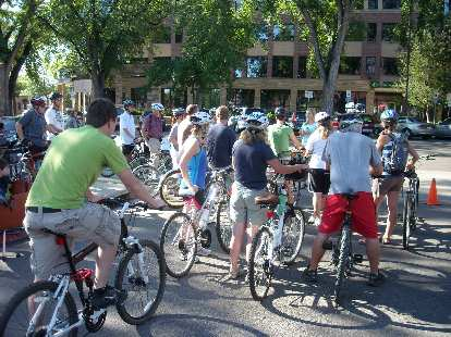 Ready to roll at the Fort Collins Old Town Farmers Market, the start of the Tour de Farms.