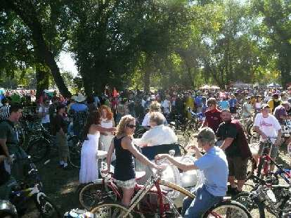 """Gathering at """"the Mothership"""" (New Belgium) before commencing the parade through downtown Fort Collins."""
