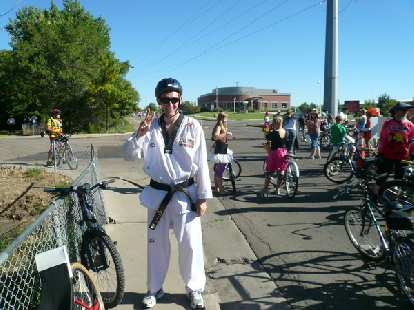 Tim recently got a black belt in Taekwondo in South Korea, so he went as a Taekwondo master in the Tour de Fat.
