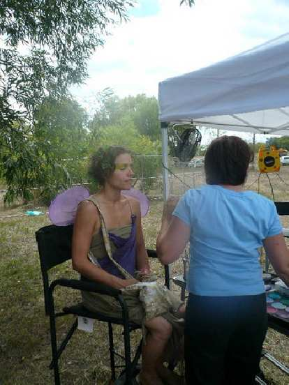 Leah getting face-painted.