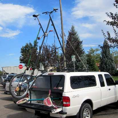 Not sure what was more impressive: the bicycle or that the owner came up a way to attach it to his vehicle!