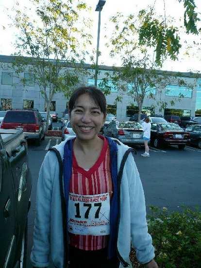 Alyssa was all smiles before the run.