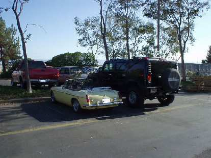 [August 7, 2003] Goldie at Lam, where I worked at from until 2005.  Yes, quite a contrast with a hulking Hummer H2.