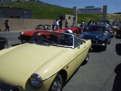 [March 20, 2004] Goldie took Sharon and I around the famous Laguna Seca racetrack in Monterey amongst her MG brethren.