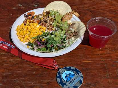 The post-ride food was great, including chicken, beef, and gluten-free tacos, corn and salad.