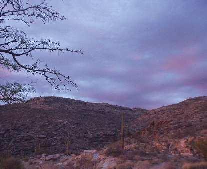 The sky turned purple as the sun lowered.