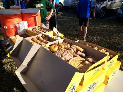 Donuts donated by LaMar's Donuts in Fort Collins for the 2017 Turkey/Donut Predict 5k at Rolland Moore Park.