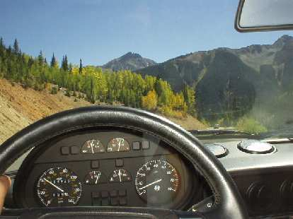 The view ahead of the driver's seat of the Alfa Romeo.