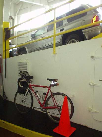 The Cannondale and a Dodge Durango mingle on the ferry.