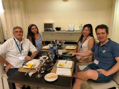Manuel D., Melissa, Zena, and Juan Antonio during the last dinner at VaughanTown Aranjuez.