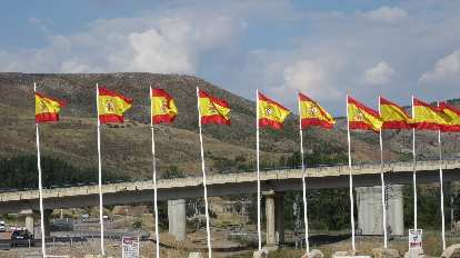 Spanish flags during a coffee break on the way back to Madrid.